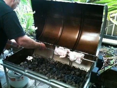 (PART 2 of 4)How to cook lechon manok(spit roast chicken) on a home made gas bbq.rotisserie.smoker.