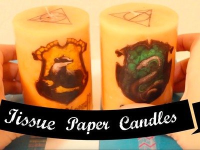 Tissue Paper Candle Decorating. Harry Potter Themed