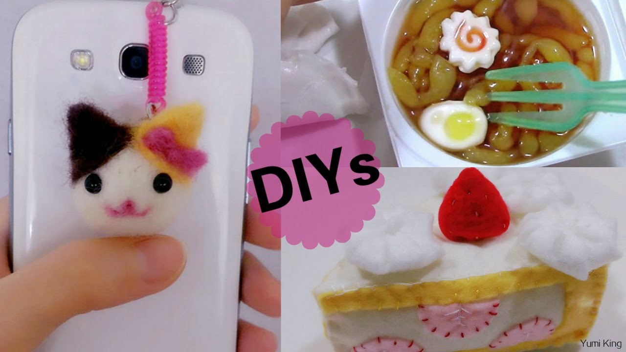 3 Japanese DIY Crafts: DIY Cat Needle felting Phone Dust Plug + DIY Ramen Candy + DIY Felt Cake