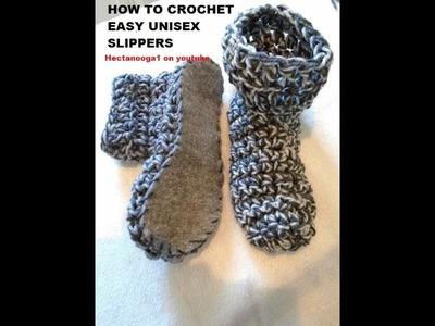 CROCHET:  EASY Unisex CROCHET SLIPPERS, Christmas Gift Idea, felt soles, non slip soles VIDEO # 1095