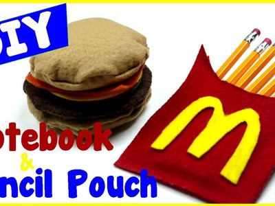 DIY Crafts: How To Make A Hamburger Notebook & French Fry Pencil Pouch (Easy Craft Tutorial)