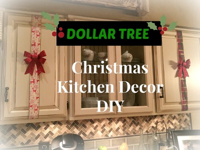 DOLLAR TREE Christmas Kitchen Cabinets Decor DIY - PLAID WEEK Day 3