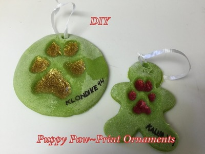 Easy DIY Christmas Paw Print Ornaments (starring booboo and klondike the dogs)