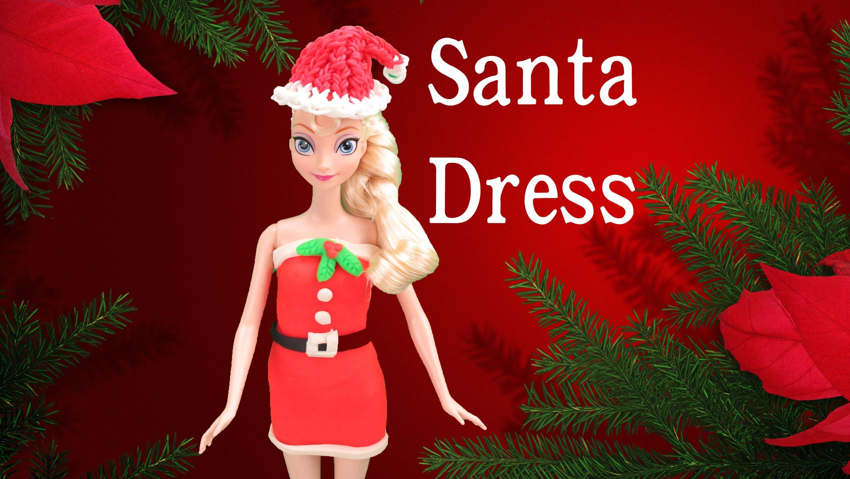 Frozen Elsa.Barbie Christmas Santa Dress Play Doh- How to with playdough