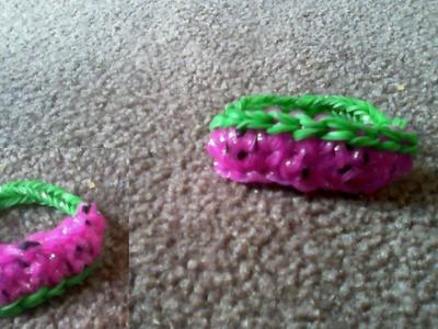 Rainbow loom bands watermelon bracelet