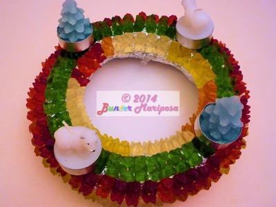 DIY Christmas Corona de adviento de gomitas. Advent wreath