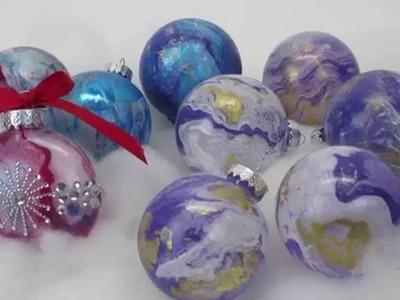 DIY Christmas Ornaments - Spray Paint on Water Transfer