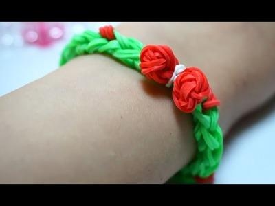 Christmas wreath charm Rainbow Loom Bracelet Tutorial How to make Easy - Regenbogen Armband leicht
