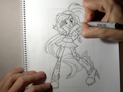 How to draw Rainbow Dash Equestria Girl from Rainbow Rocks