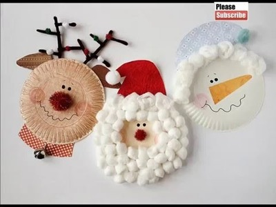 Paper Plate Handmade Diy Crafts ideas for december holiday Christmas   Set of Pictures for kids