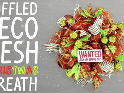 Ruffled Deco Mesh Christmas Wreath