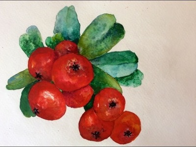 Tutorial how to paint Christmas Holly Berries with watercolor for beginners, fast and easy