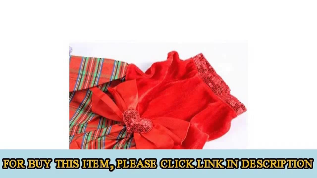 Urparcel Bow-knot Christmas Pet Costume Plaid Skirt Dog Clothes Santa  Product images