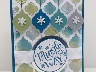 Watercolored Embossing Folder with Mingle All the Way for Christmas