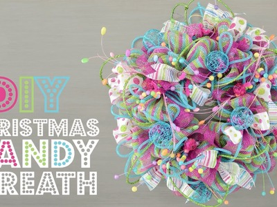 Deco Mesh Christmas Candy Wreath
