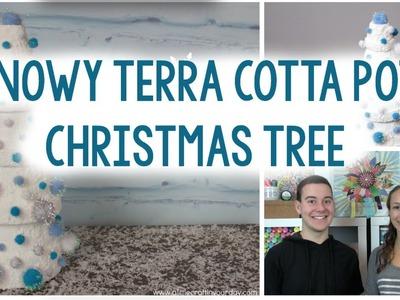 DIY Snowy Terra Cotta Pot Christmas Tree