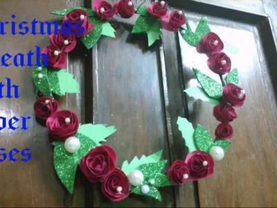 How To Make Paper Rose Wreath.Handmade Paper Rose Wreath DIY