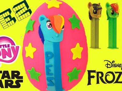 Huge PEZ Candy Dispenser Show! Rainbow Dash Play Doh Egg! My Little Pony! Frozen! Star Wars!