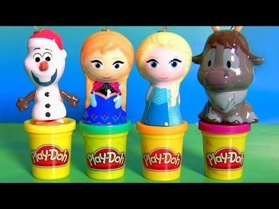 Play Doh Surprise Eggs Disney Frozen Christmas Ornaments Anna Elsa Sven Olaf Shopkins Peppa Pig