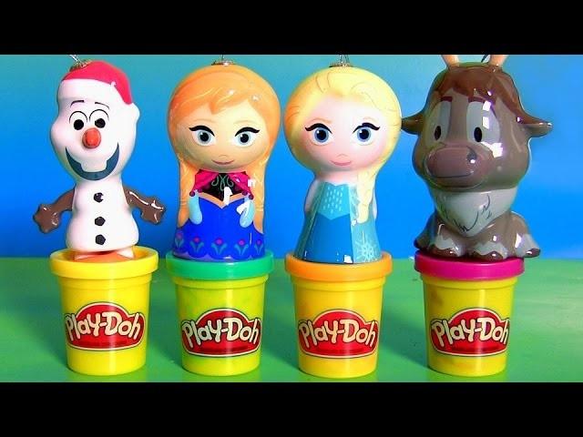 Play Doh Surprise Eggs Disney Frozen Christmas Ornaments Anna Elsa Sven Olaf Shopkins Peppa Pig