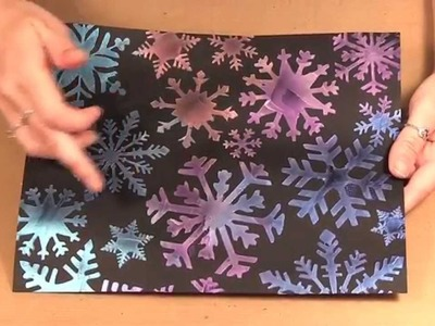 Quick Christmas Cards with Imagine Crafts Iridescent Creative Medium and Snowflake Stencil - 1078