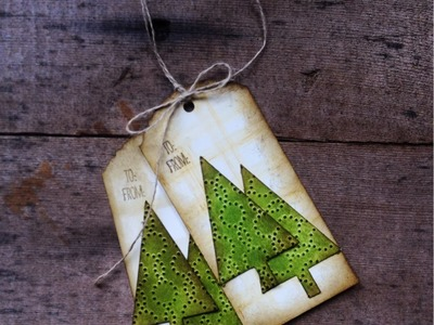 Christmas in July Festival of Trees Distressed Gift Tag Video Tutorial