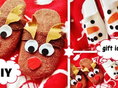 DIY| Christmas Gift Idea - XMAS SLIPPERS (cute and easy)