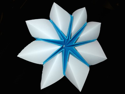 Easy Origami star-flower for decor and fashion jewelry. Christmas star