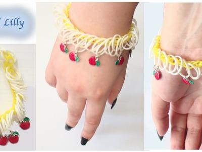 Ever After High Rainbow Loom - APPLE WHITE inspired bracelet *level easy*