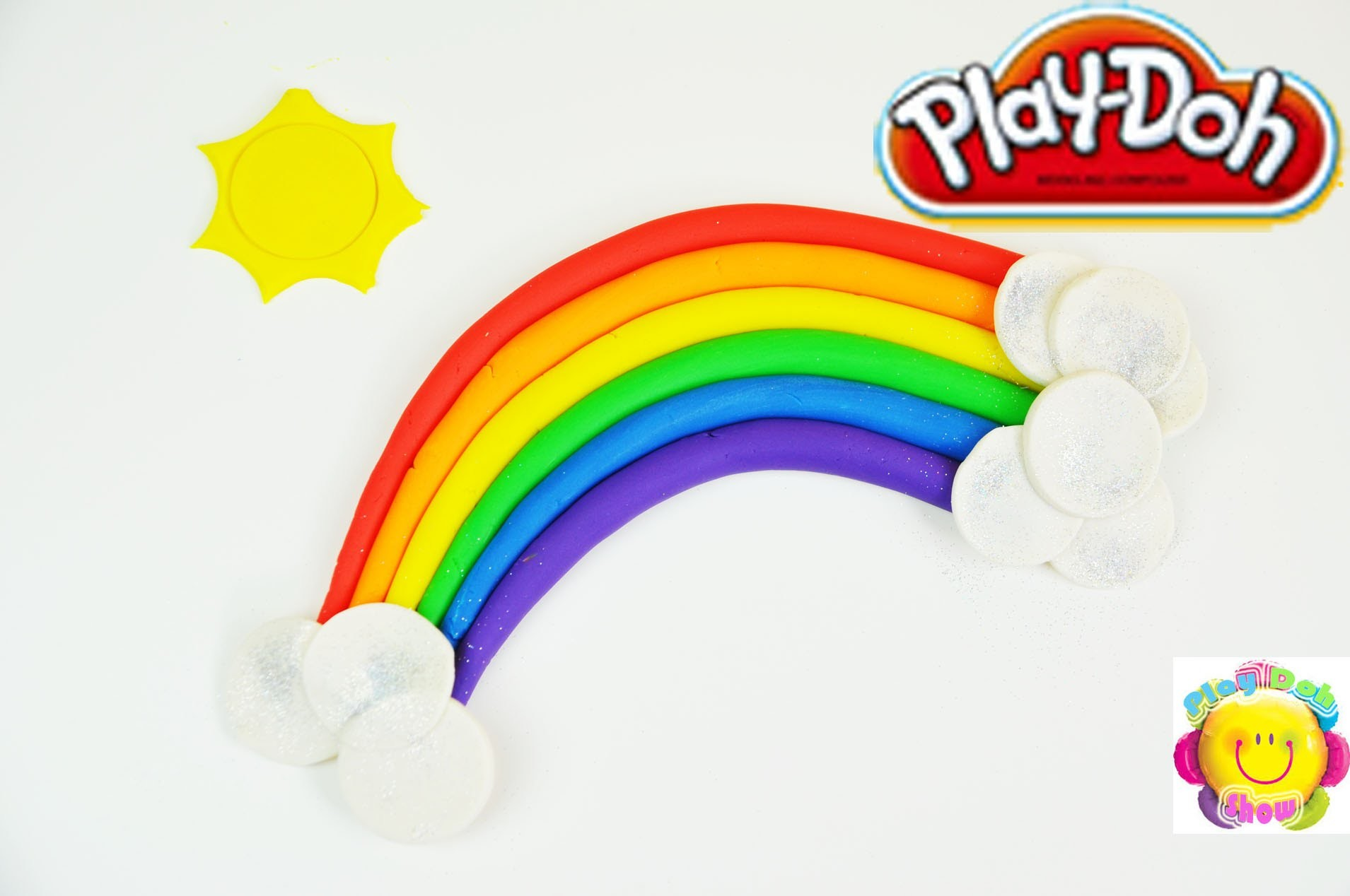 How to make a Play Doh Rainbow with Sunshine and Sparkle Clouds