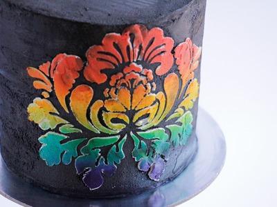 Rainbow Stencil Work on Buttercream Cake Tutorial