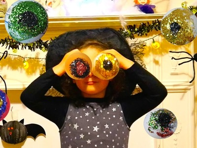 DIY Very Easy to do Halloween Decorations Glitter Spooky Eyes, last minute halloween ideas