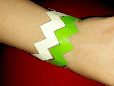 How to make Paper Bracelet. Kirigami Bracelet. Zig Zag Rainbow Bracelet. Easy and cheap idea
