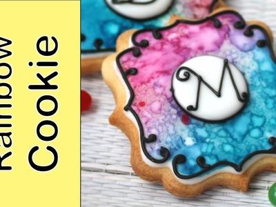 Rainbow watercolour effect on cookie - Dessert Network Collaboration