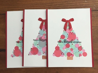 Bokeh Dot Christmas Tree Handmade Card