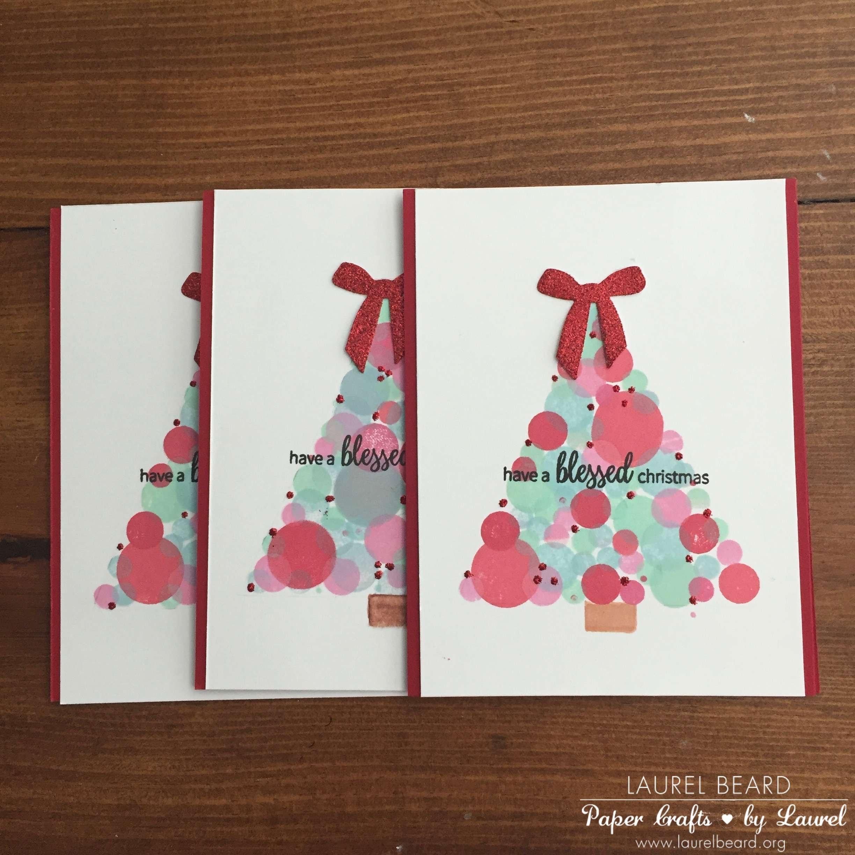 Bokeh Dot Christmas Tree Handmade Card