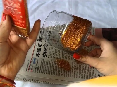 DIY-Easy 5 mins glitter candles-how to decorate your home in jst 5 minutes and only 3 things