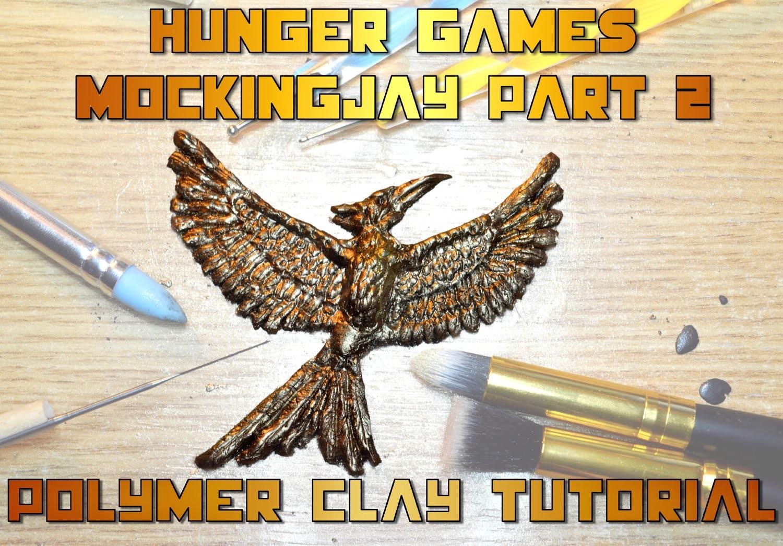 DIY mockingjay for the Hunger games Mockingjay part 2 movie polymer clay tutorial
