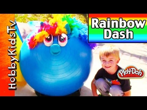 Mega GIANT Play-Doh Rainbow Dash Surprise Head! My Little Pony Kinder Chocolate Egg MLP HobbyKidsTV