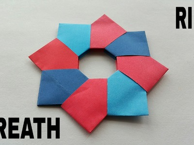"""Modular Origami - Paper """"Christmas Wreath. Ring (8 pointed)"""" - Very simple and easy to make."""