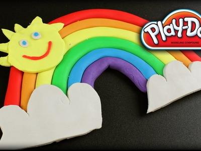 ♥ Play-Doh Rainbow Colors (How to make Easy Playdough Rainbow, Sun & Clouds)
