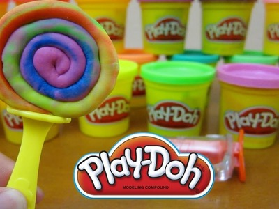 Play-Doh Rainbow Tie-Dye Lollipop | Fun & Easy Play Doh How To DIY!