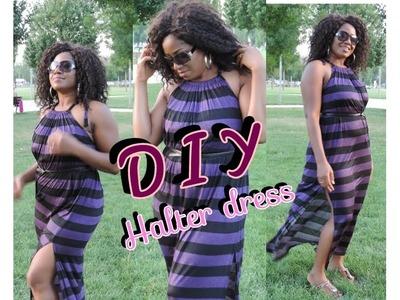 SEWING : DIY MAXI HALTER DRESS (EASY SEWING)