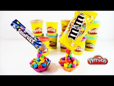 Smarties and M&M's Rainbow Muffins with PLAY DOH! How to make a Gravity Defying cakes NOT EDIBLE