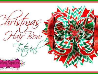 Christmas Herringbone Ribbon Hair Bow Tutorial - Hairbow Supplies, Etc.