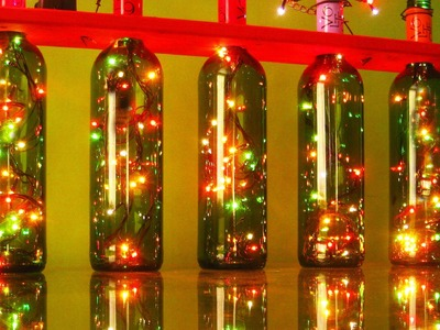 Christmas Lights With Recycled Wine Bottles.  Recycling Project #4