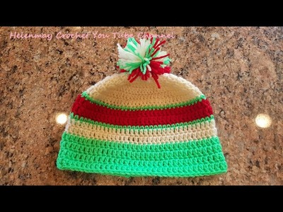 Crochet Super Quick and Easy Beginner Multi-colored Child Beanie Hat DIY Tutorial