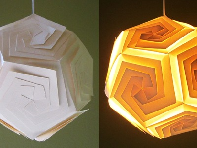 DIY lampshade (dodecahedron) - learn how to make a paper lamp.lantern by template - EzyCraft