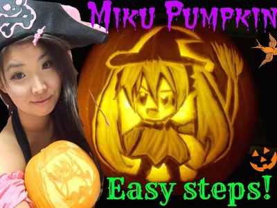 HOW TO CARVE Miku Hatsune on Pumpkin (*´∀`*) DIY HALLOWEEN