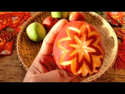 How To Make Apple Carving | Christmas Decor | Fruit Carving Garnish | Party Food Decoration